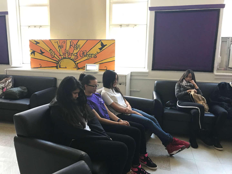 Students reflecting during advisory