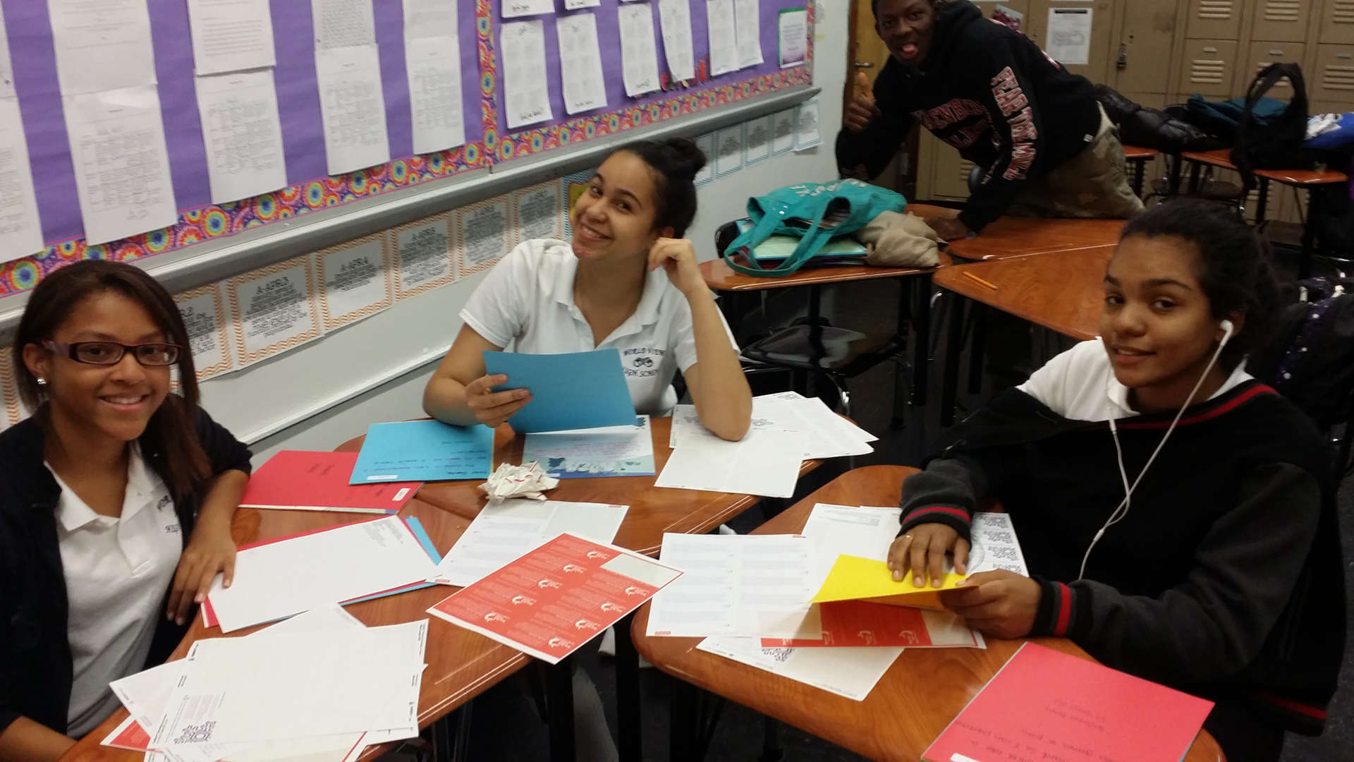 Students at work in class