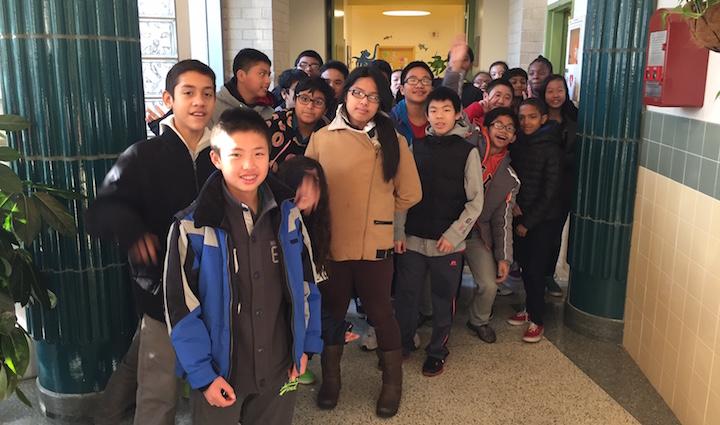 Students of 102Q in the school hallway