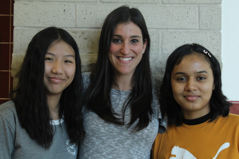 Sara Cohen and two members of the Student Council