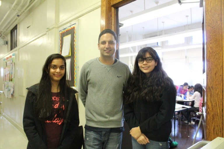 Mr. Ravi Vyas and two members of the Student Council