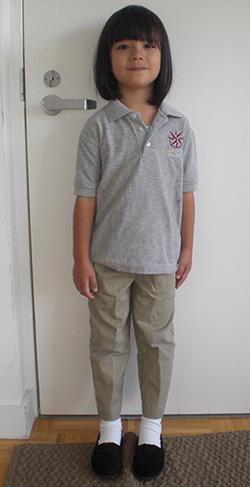 Hannah in her school uniform