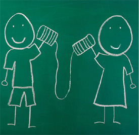 Chalk illustration of two stick figures playing telephone with cans