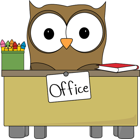 Main office desk with owl