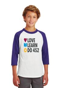 PS 452 Youth 3/4 Sleeve Learn Love Do