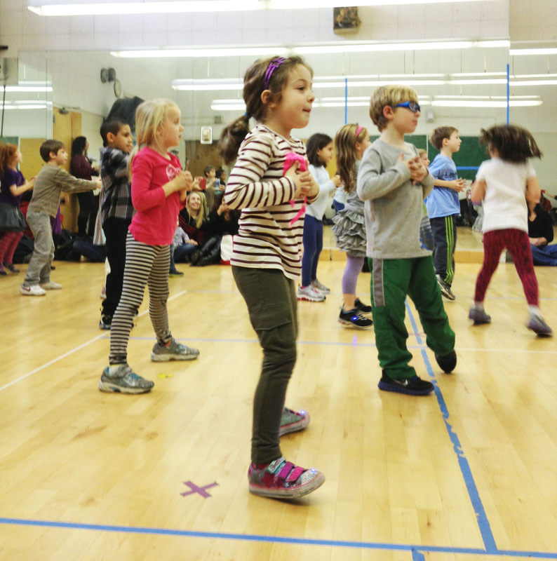 First graders rehearsing with the National Dance Institute