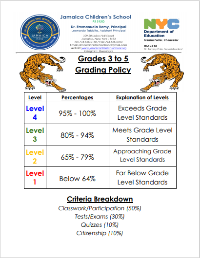 grades 3 to 5 grading policy