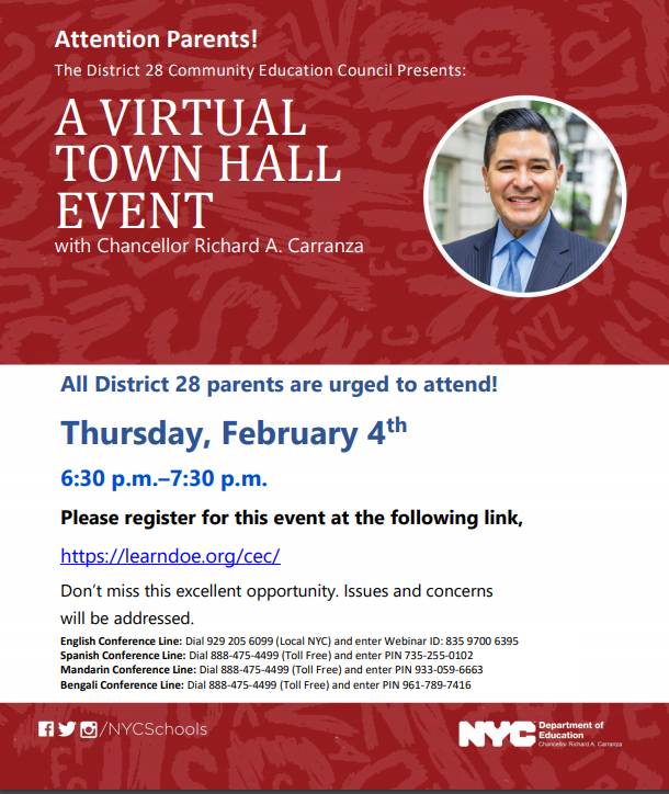 CEC TOWN HALL WITH CHANCELLOR POSTER