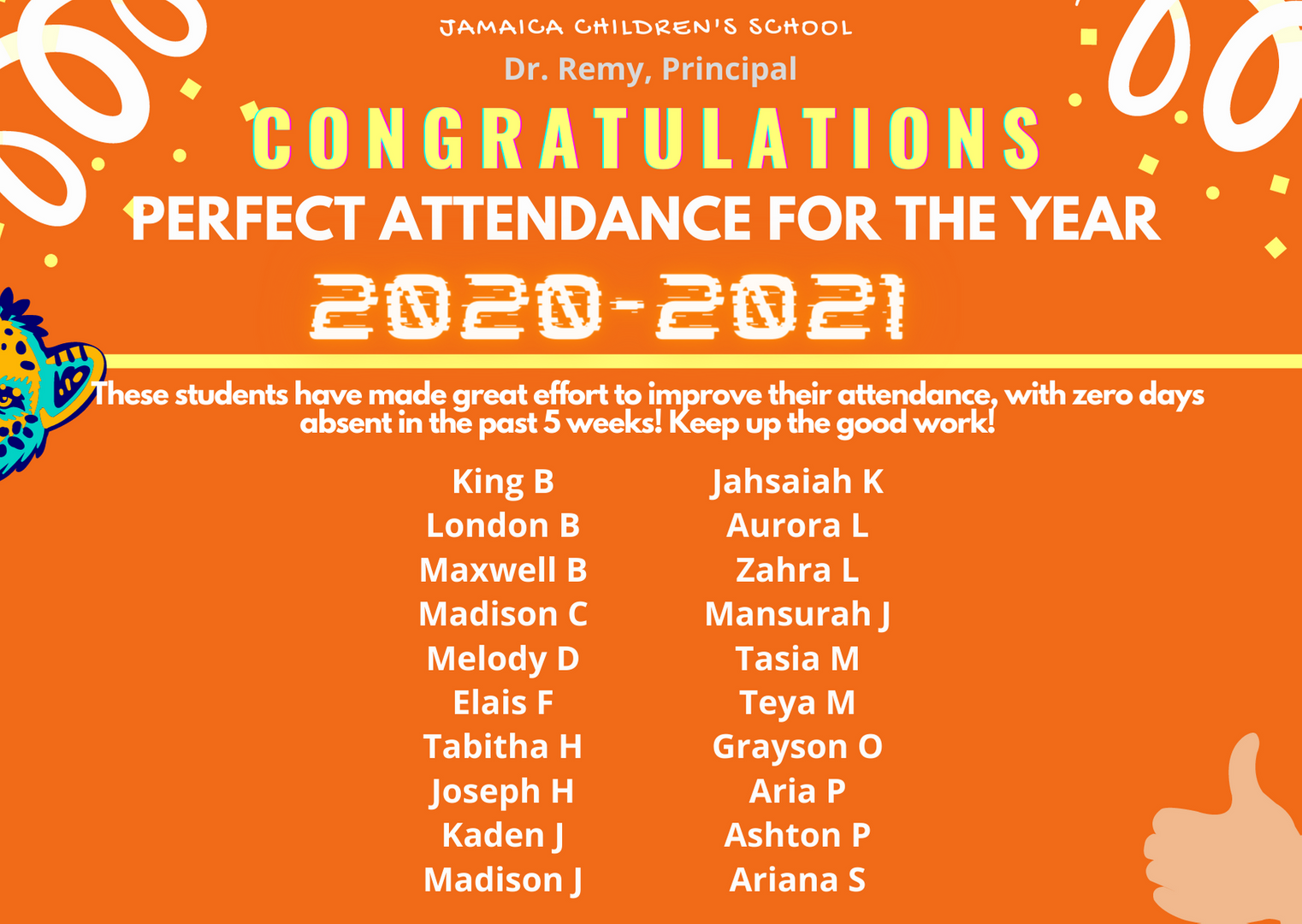 Perfect Attendance for the year.