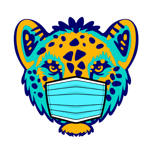 Illustration of a jaguar in a mask during the pandemic