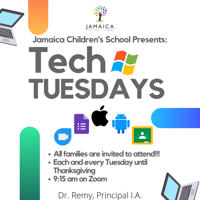 Flyer for the Tech Tuesdays Workshop at JCS
