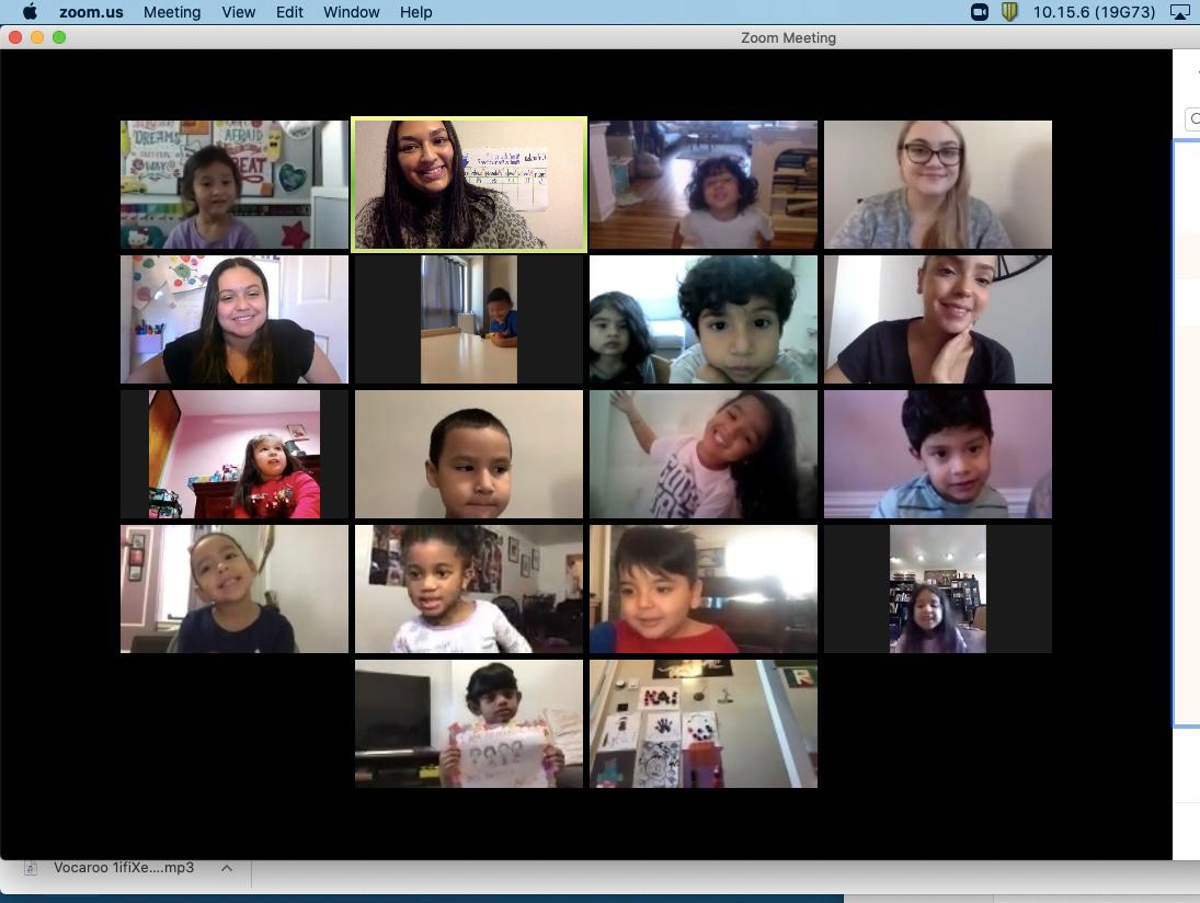 Students in gallery view on a Friendsgiving Zoom call