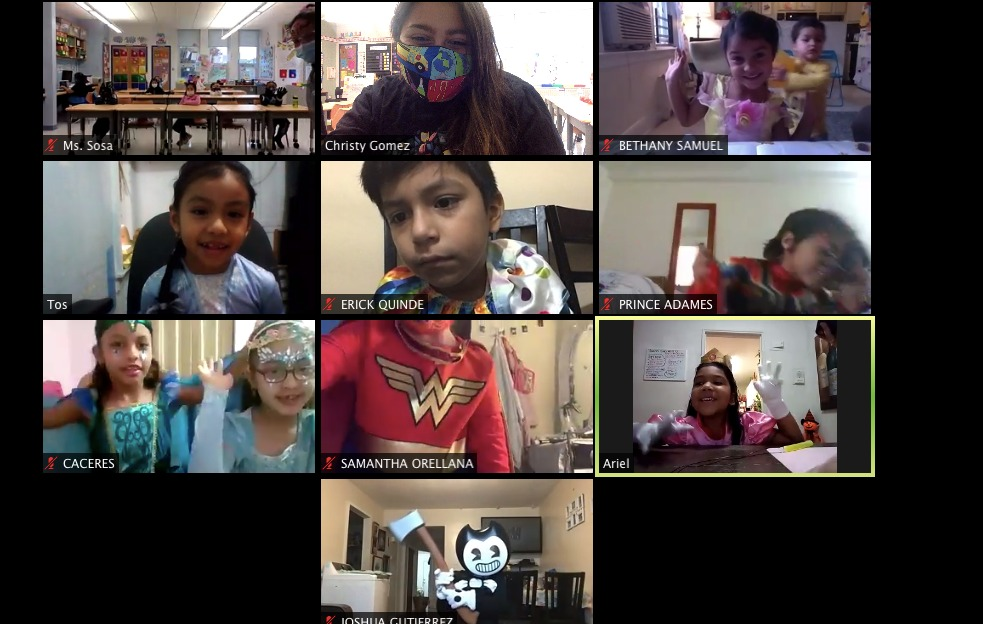 Students dressed in Halloween costumes during remote learning