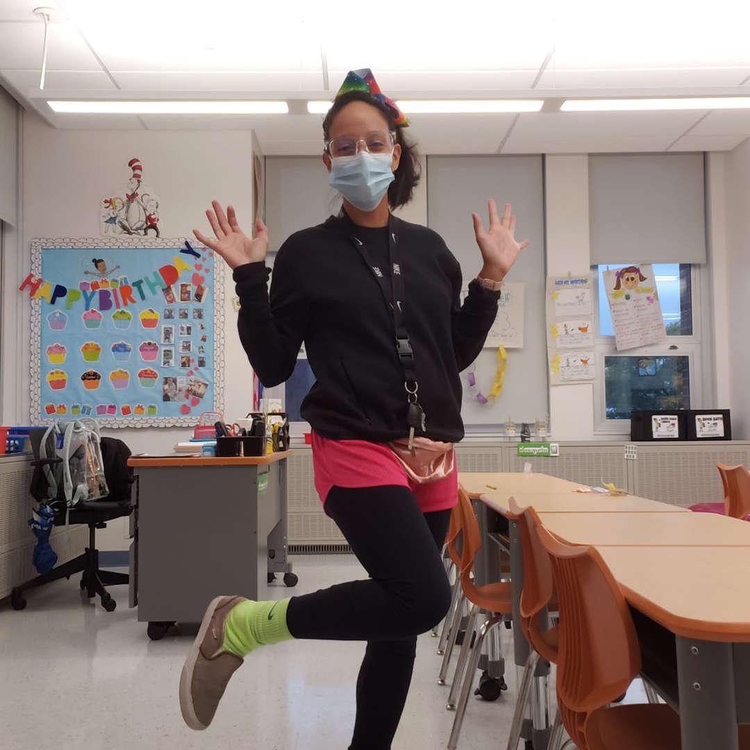 Teacher dressed up during spirit week throwback day
