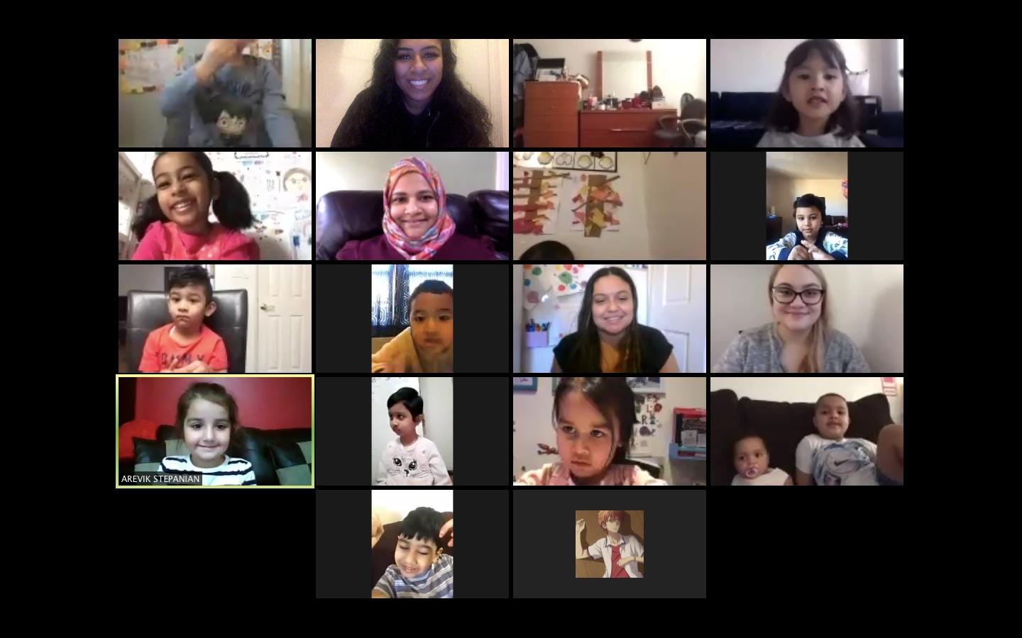 Students and teachers on a Friendsgiving Zoom call