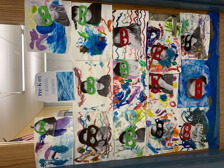 PreK art work of themselves underwater
