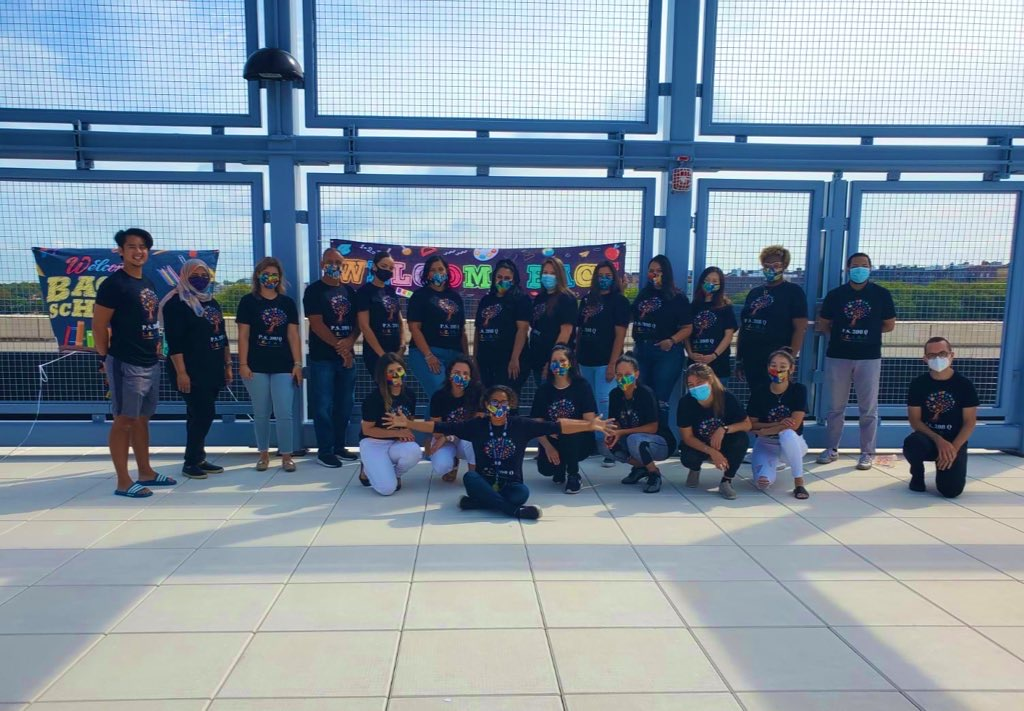 PS 398 Teachers and Staff on rooftop during summer orientation