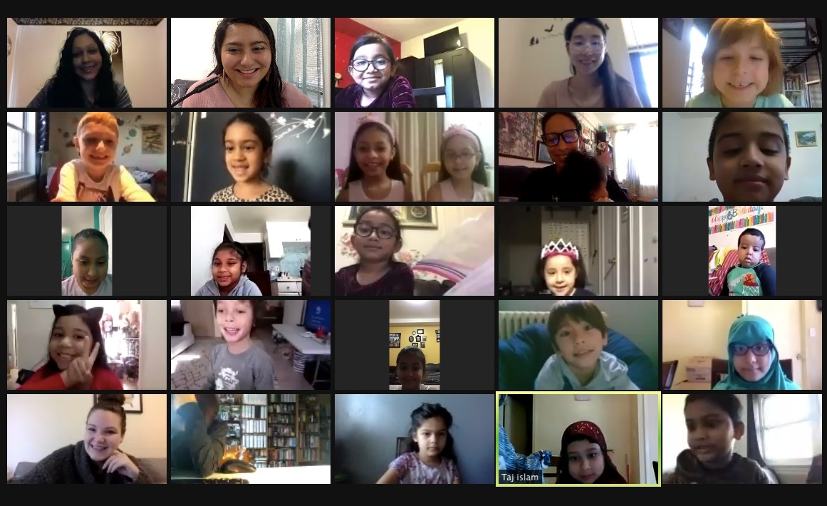 Students greet each other on a Friendsgiving Zoom call