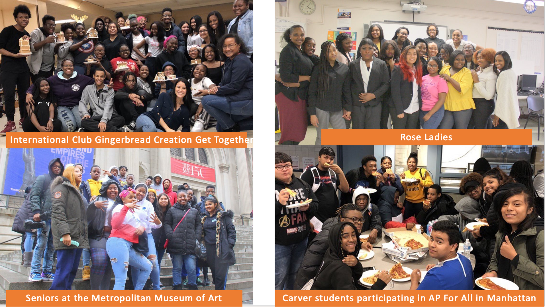 Group photos of GWCHSS Clubs (International Club, Rose Ladies)