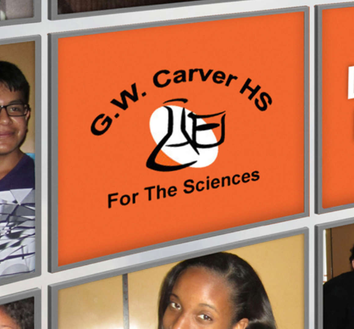 G.W. Carver HS For The Science logo and collage of images