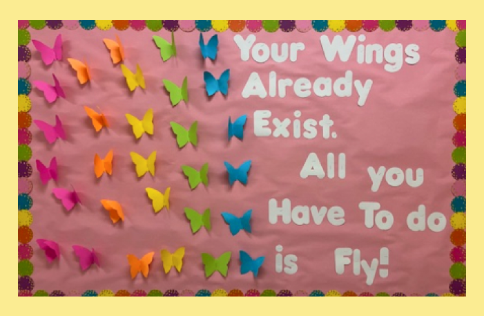 """Sign with butterflies that says, """"your wings already exist. All you have to do is fly!"""""""