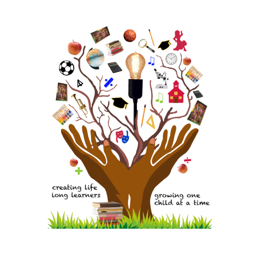 School logo of a tree with branches about different subjects