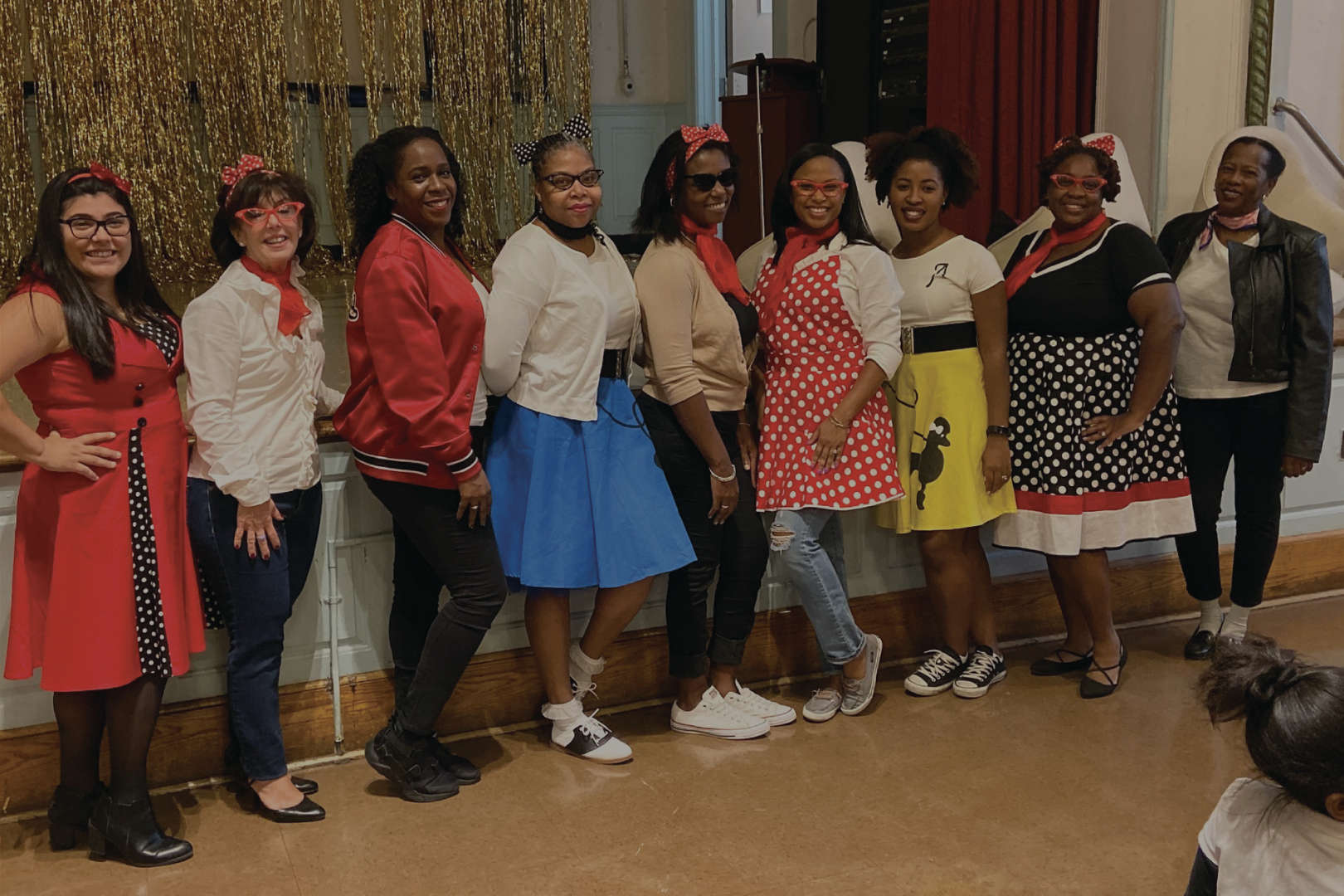 Staff dressed in 50's outfits