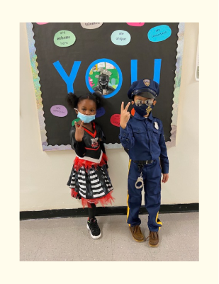 Two students dressed up for Halloween