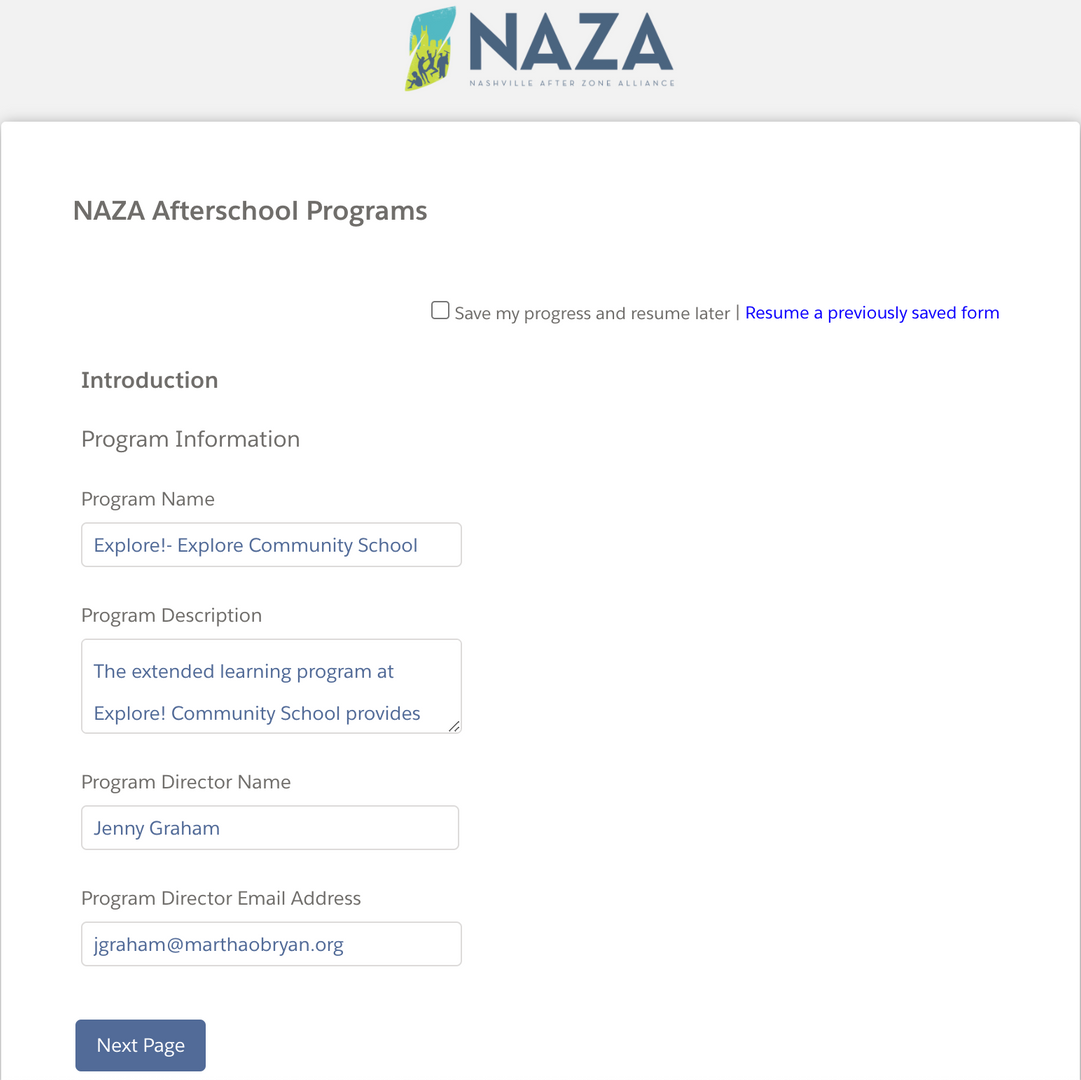 NAZA After School Registration