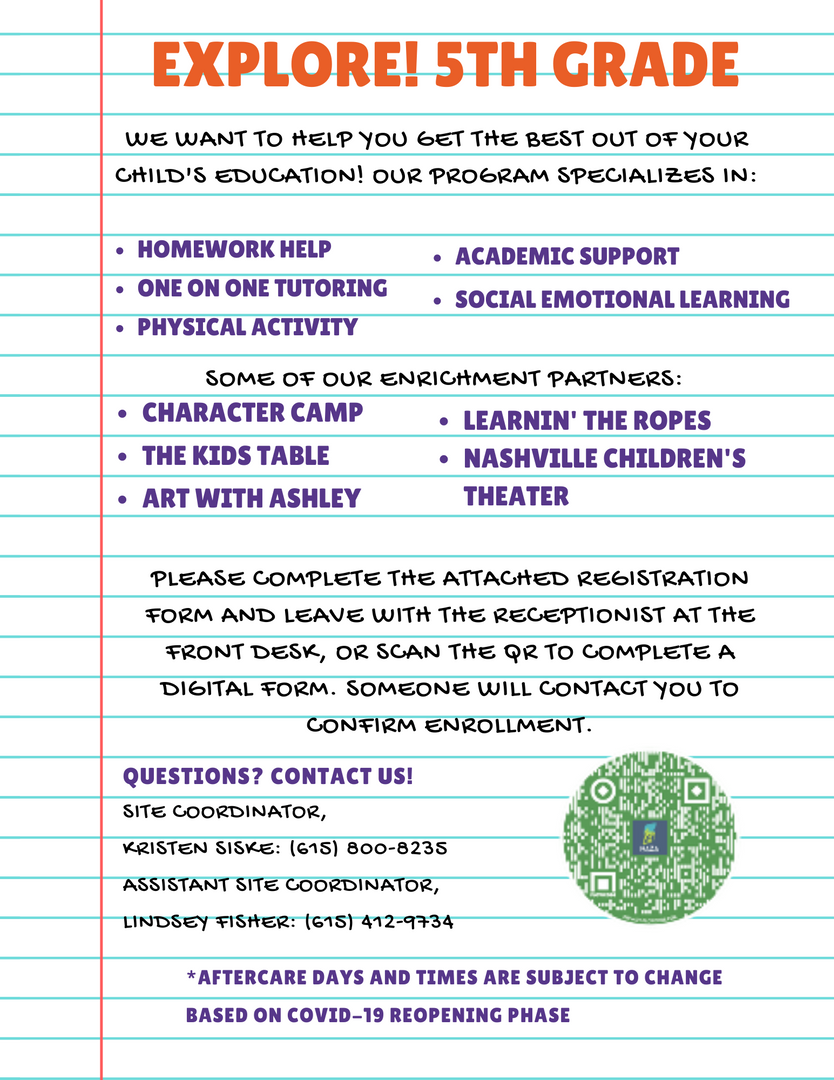 Explore 5th Grade After School Flyer