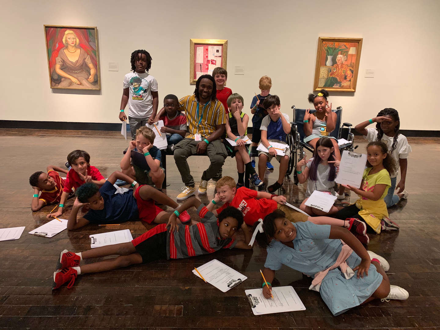 Students and their teacher at the museum