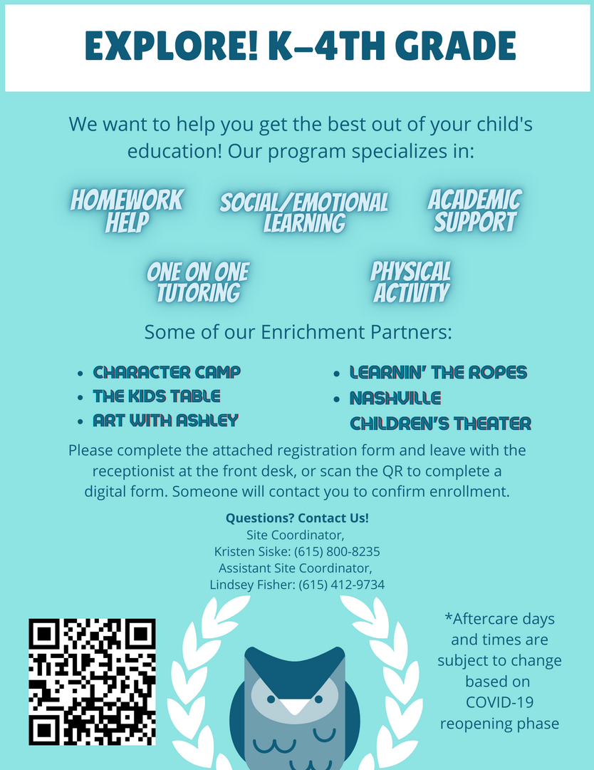 Explore K-4 After-School Flyer