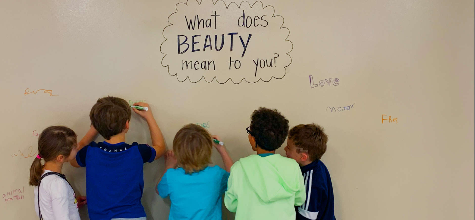 Students brainstorm ideas on a large white board