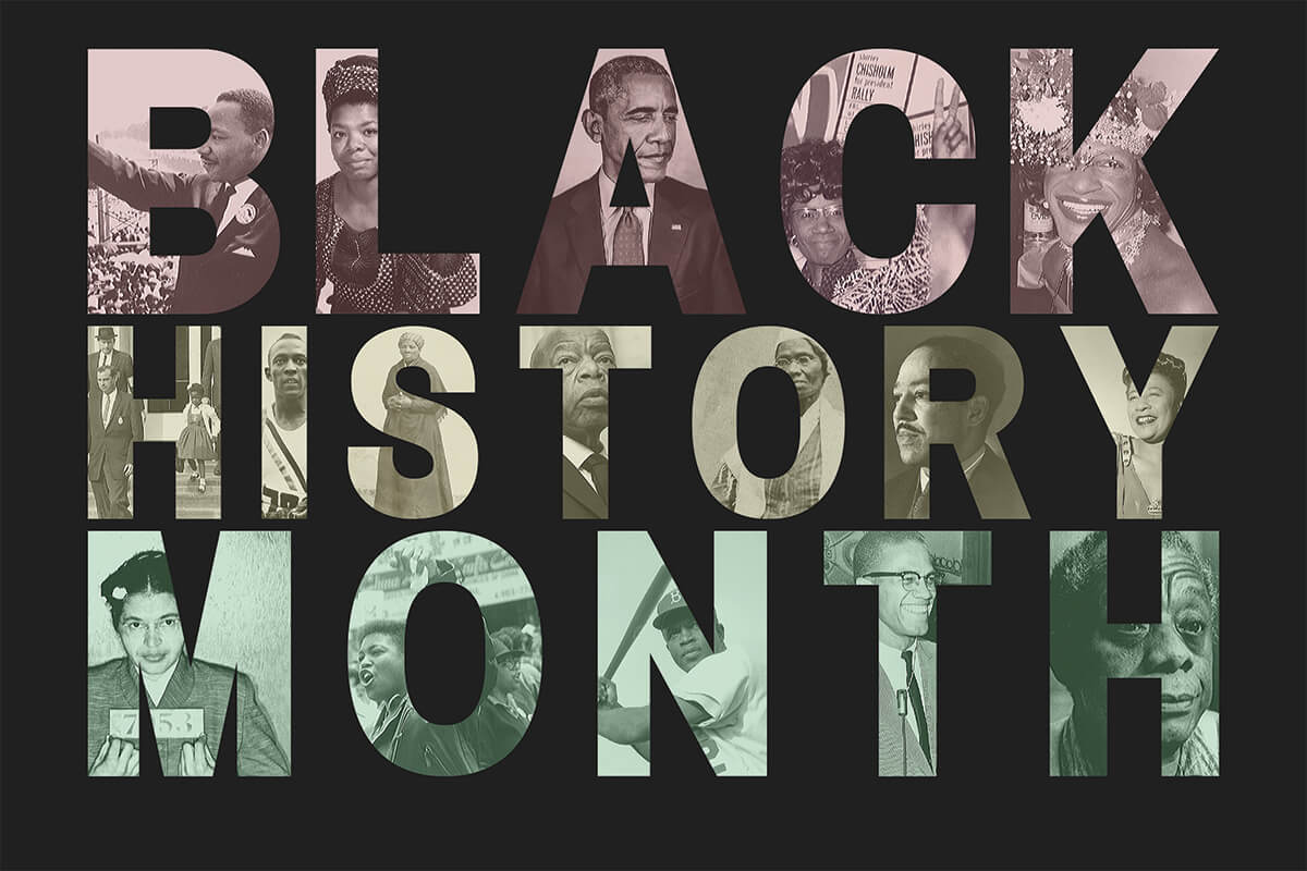 the word Black History Month is individualized with pictures of important black figures