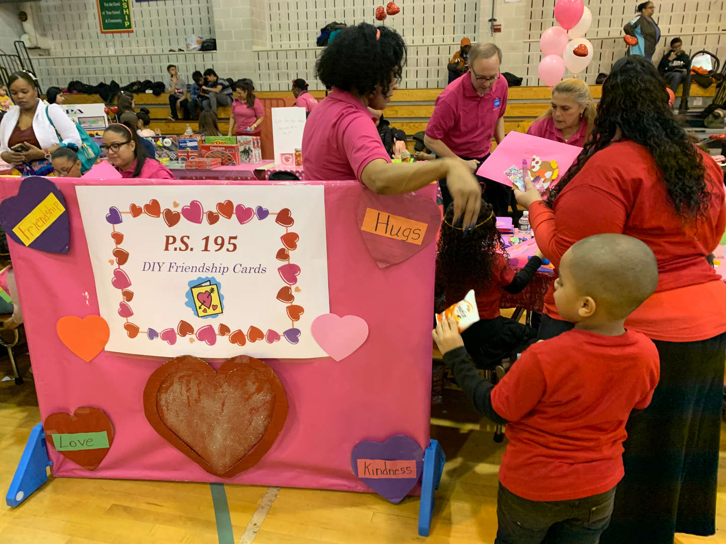 A P.S. 195 booth for making DIY friendship cards