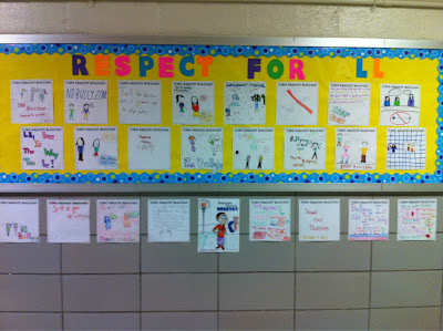 A Respect for All bulletin board in the school hallway