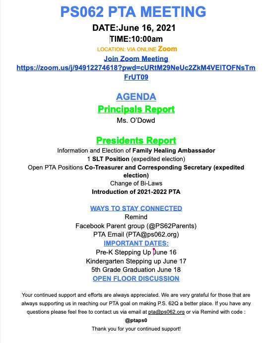 June PTA Meeting