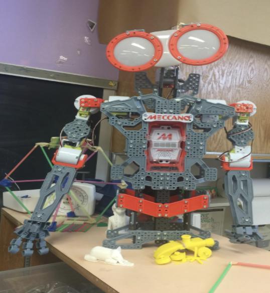 A gray and orange robot