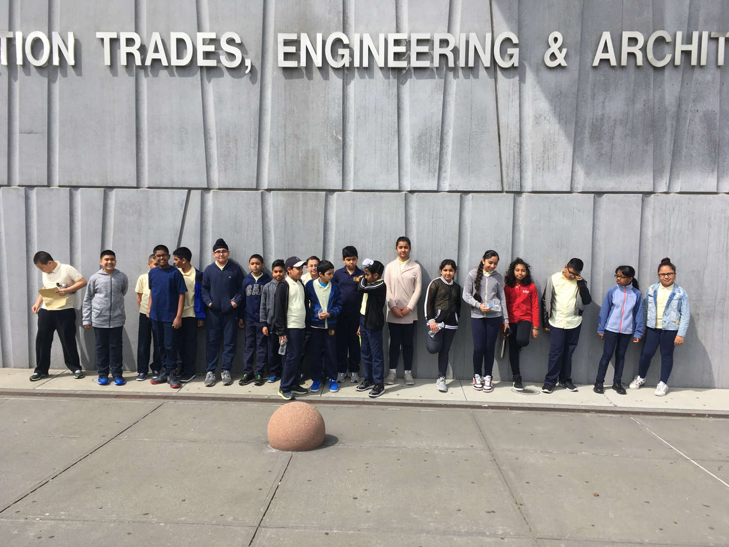 Students lined up outside the High School for Construction Trades, Engineering and Architecture