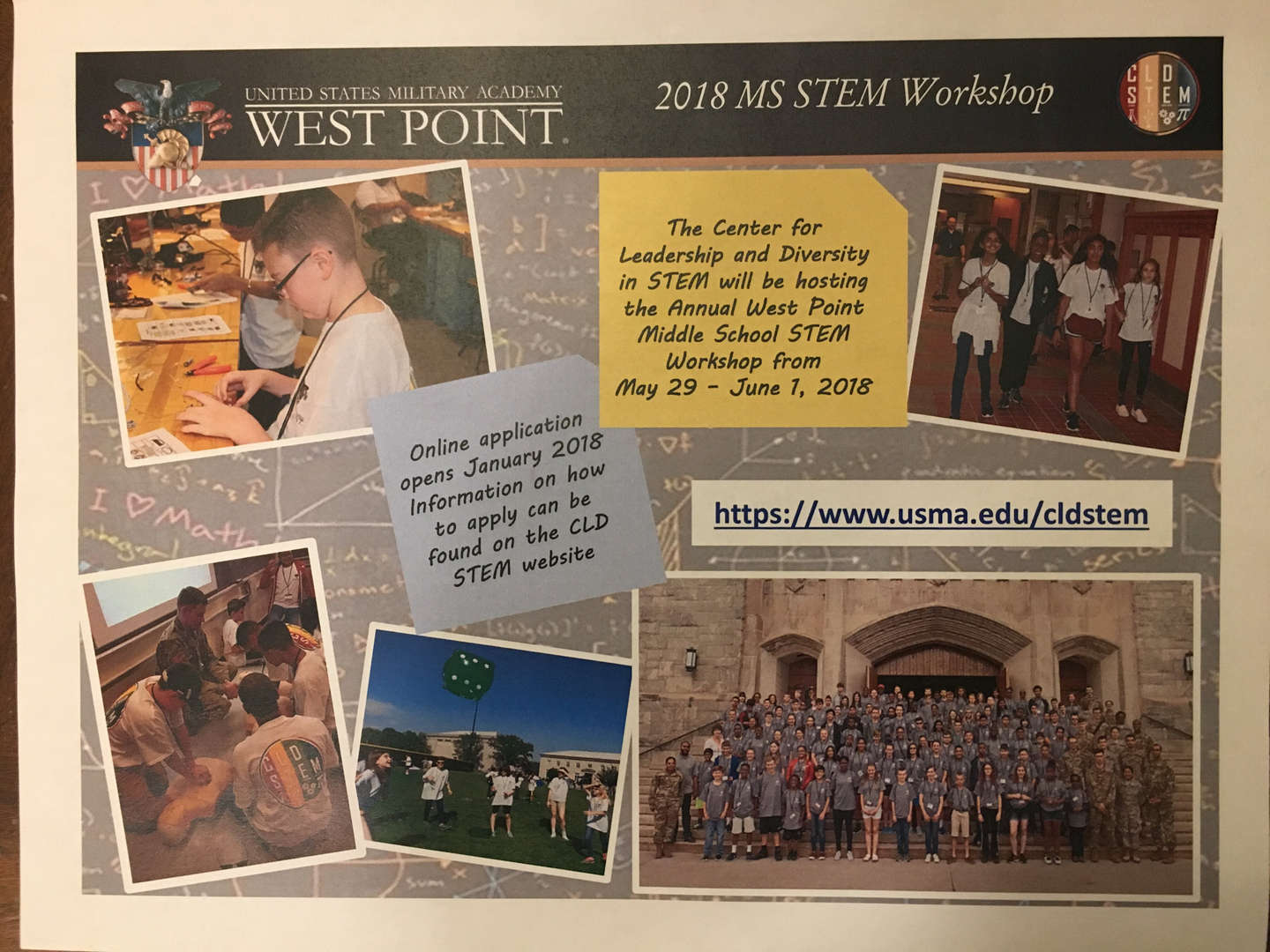 Promotional poster for the West Point 2018 MS STEM Workshop