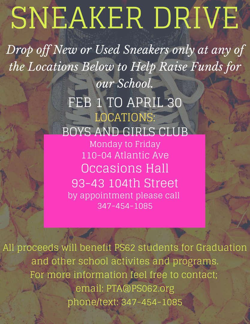 PTA Sneaker Fundraiser information