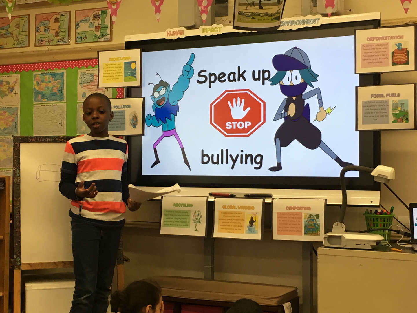 student presents speak up bullying presentation