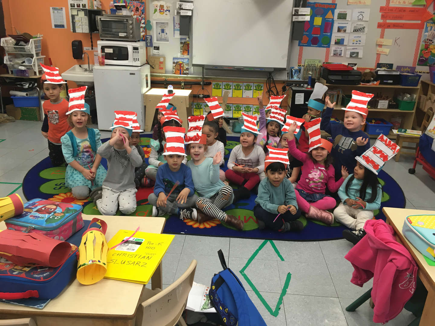 students wearing Dr. Seuss hats