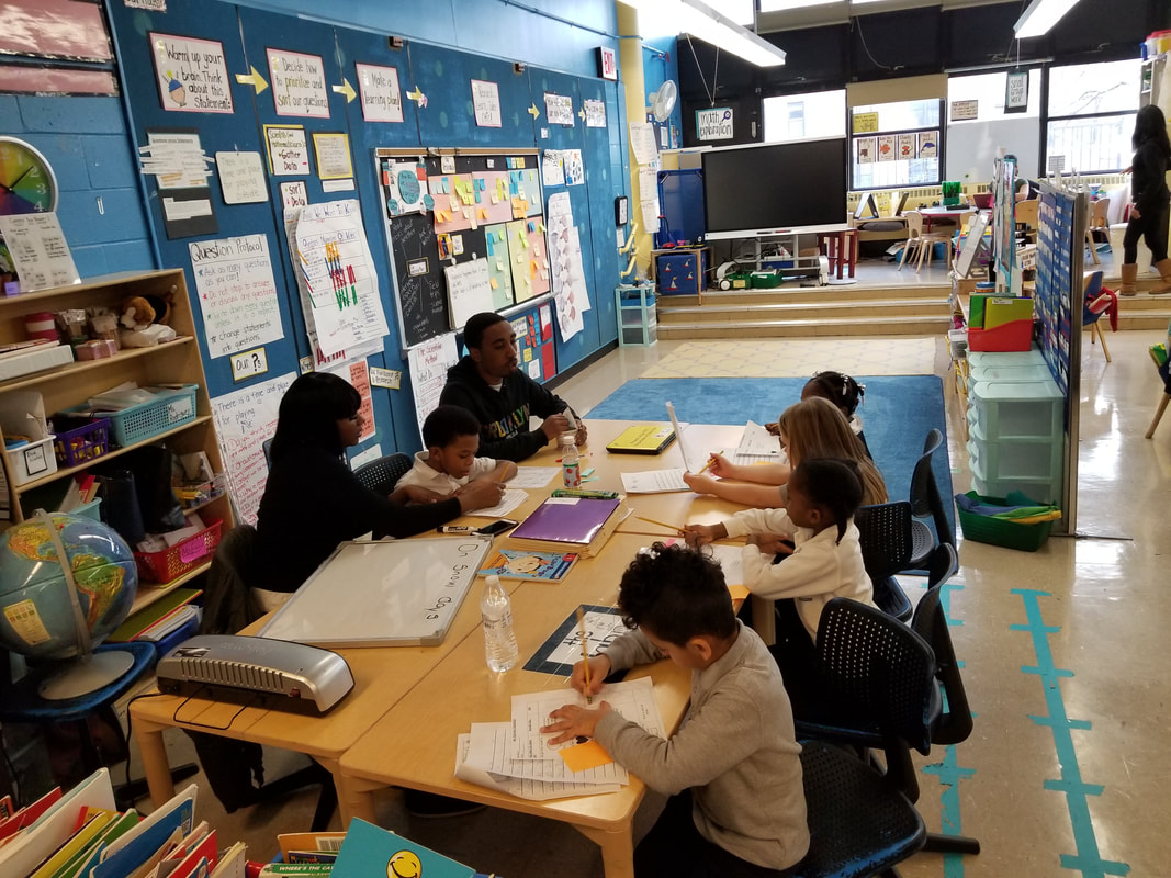 Students finish work during study session in the classroom