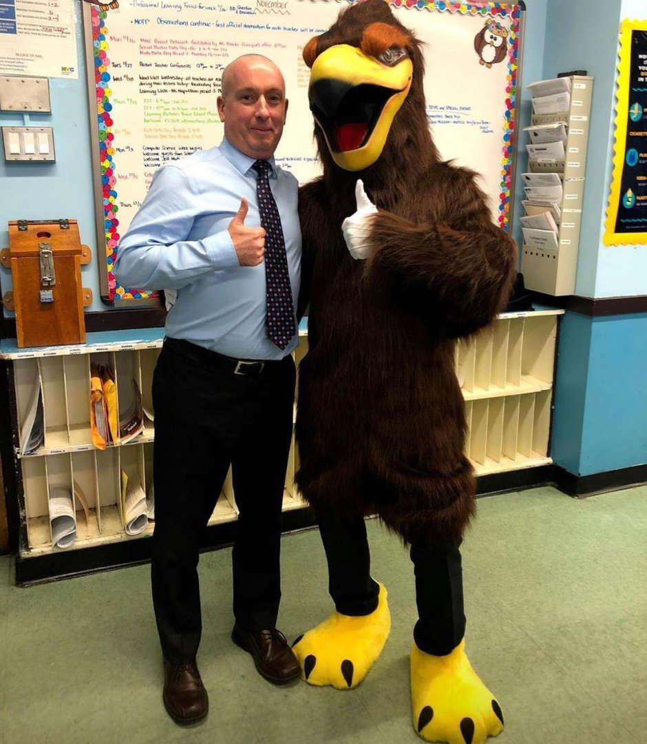Principal Burns with Mascot