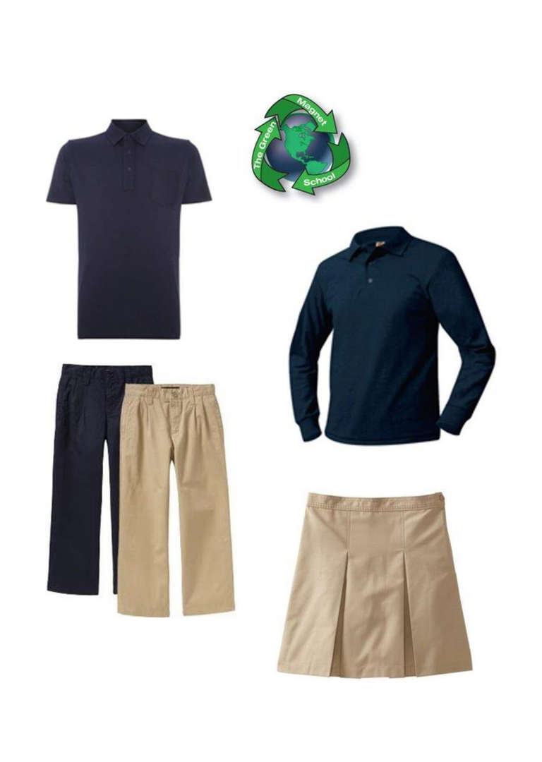 Shirts are NAVY BLUE or GREY Pants are NAVY BLUE or KHAKI