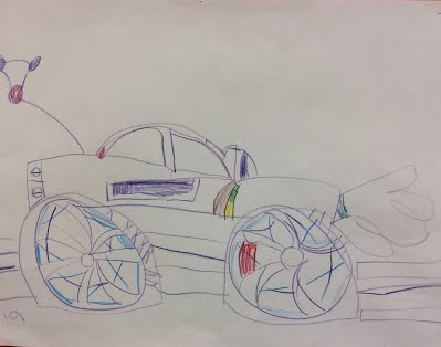First grade observational drawing of vehicles.