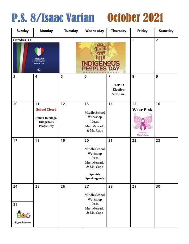 October Calendar of Events 2021