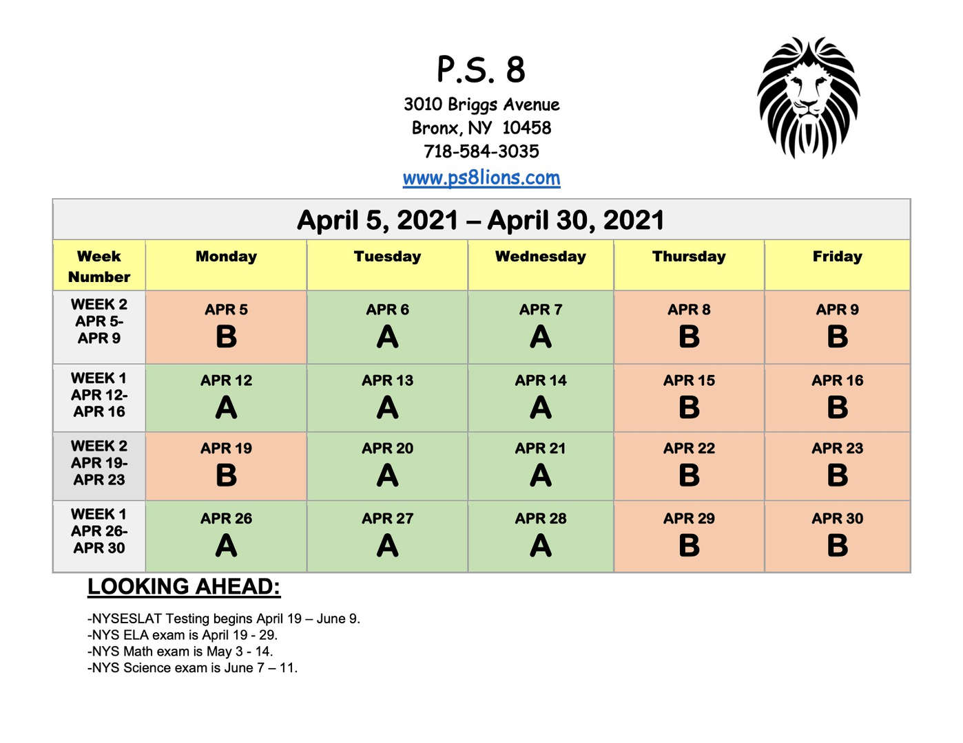 Public School 8 BX, NY scheduled events for April 2021.
