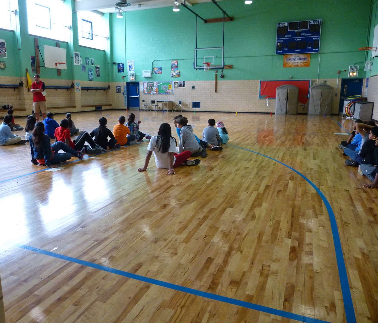 Students gather in gym during P.E.